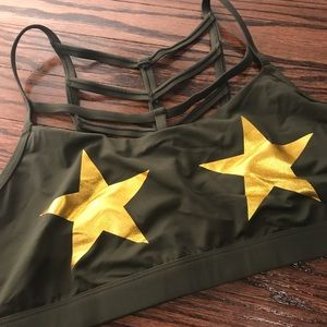 PINK | Olive Green Gold Foil Star Sports Bra